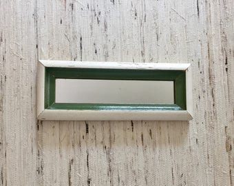 Wooden Green and White Cottage Mirror, Vintage