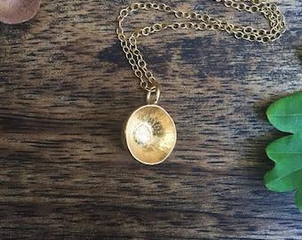 Gold vermeil acorn necklace, gold plated acorn cap necklace