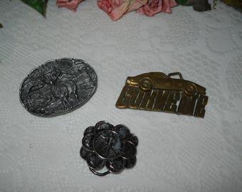 Vintage Belt Buckles...Corvette, Montana, Coin
