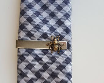 Silver Tie Clip with Gold Brass Bee, Mixed Metal Tie Clip,  Modern, Rustic, Woodland, Nature, Men, Groom, Best man, Father's Day
