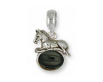Horse Charm Slide Jewelry Sterling Silver Handmade Horse Charm Slide EQ10-OXPNS