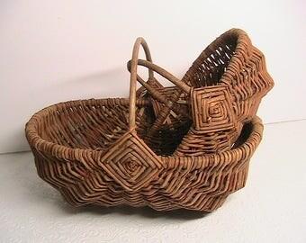 Baskets, Vintage 2Pc. Nesting Baskets, Old Wicker Handled Baskets, Four Point Gods Eye Baskets