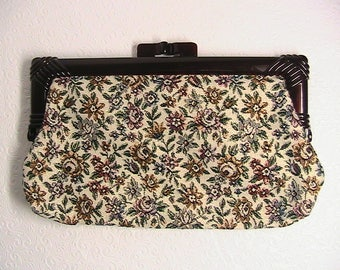 Clutch Purse, Vintage Clutch with Lucite Handle, Tapestry Clutch, Handbag, Floral and Gold, Kiss Lock Lucite
