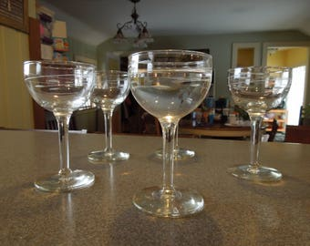 Libbey Crystal Cordial Glasses Smooth Stem- Interlude Pattern Set of 4