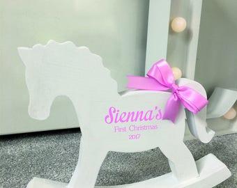 Rocking horse gift etsy personalised wooden rocking horse keepsake new baby shower gift nursery decoration negle Image collections