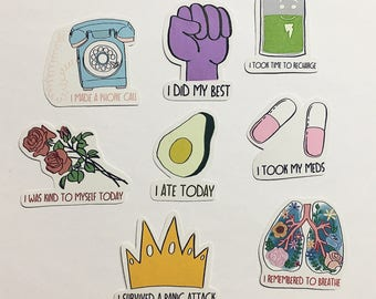 Self Care / Mental Health Stickers - Set of 8