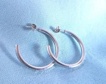 Silver hoop earrings // solid silver heavy hammered hoops