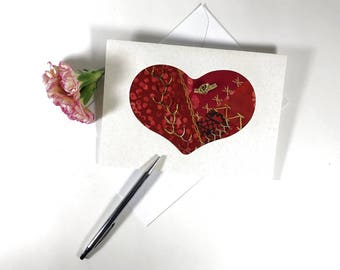 Hand Embroidered Heart Card, 50th Anniversary Card, Handmade Fabric Valentine Card, Crazy Quilt Greeting Card, Fiber Art Greeting Card