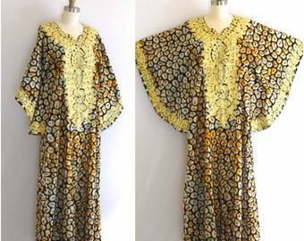 70s Embroidered Caftan/ Ethnic Maxi Dress/ Cotton Boho Festival Dress/ Women's Size Small to Medium