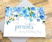 zu meinen Eltern an meinem Hochzeitstag - vielen Dank Mama und Papa - Hortensie Karte für Mutter und Vater - auf meiner Hochzeit Tageskarte - Ewigkeit