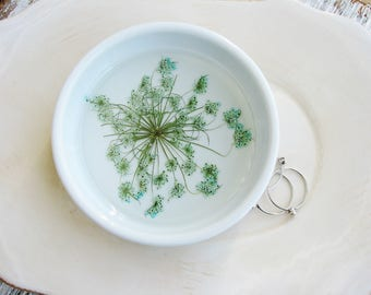 Ceramic Flower Bowl, Ring Dish, Ring Holder, Jewelry Organizer, Trinket Tray, Queen Anne's lace, Trinket Dish