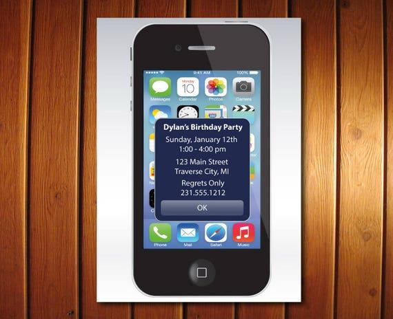 Iphone alert birthday invitation unique printable kids birthday il570xn filmwisefo