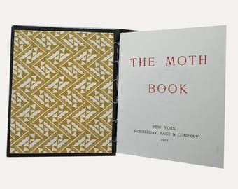 The  Moth Book, Handmade book, coptic stitch book, artist  book, moths,  pocket gift, art gift, Book Art, lepidopterist gift