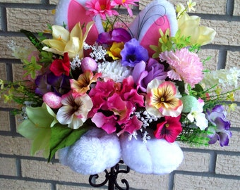 Spring Centerpiece, Easter Floral Arrangement, Bunny Ears and Feet, Home Decor