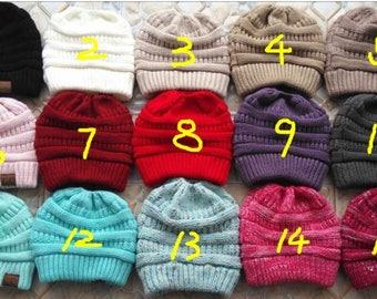 Ponytail, Messy Bun beanie, hat, boho, CC, cap, knit, ladies, teens, girls, winter, trendy, slouchy, grey, gray, cream, black, tan, monogram