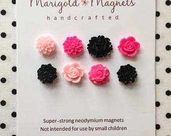 SUPER STRONG MAGNETS set of 8, hot pink, black and white flowers, strong neodymium magnets, hostess gift, dorm dec, office dec, magnet board