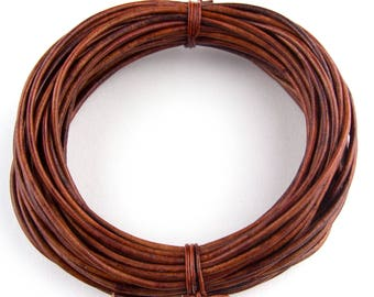 Brown Distressed Red Round Leather Cord 2mm 100 meters (109 yards)