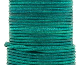 Xsotica® Turquoise Natural Dye Round Leather Cord 1.5mm 10 meters (11 yards)