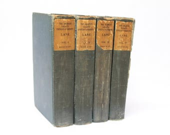 Antique The Arabian Nights Entertainments, Lane, Edition De Luxe 4 Volumes Jefferson Press Thousand and One Nights