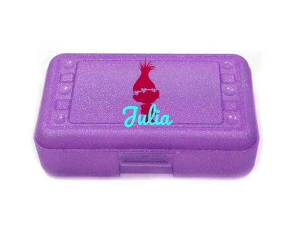 TROLLS Personalized Pencil Box Crayon Box Back to school supplies Monogram Pencil Box Monogram Office supply