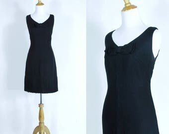 Vintage 1960s Dress | 60 Little Black Wiggle Dress with Bow and Fringe | Medium M