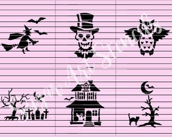 Halloween stencils haunted house cemetary  set of 6 SL20194
