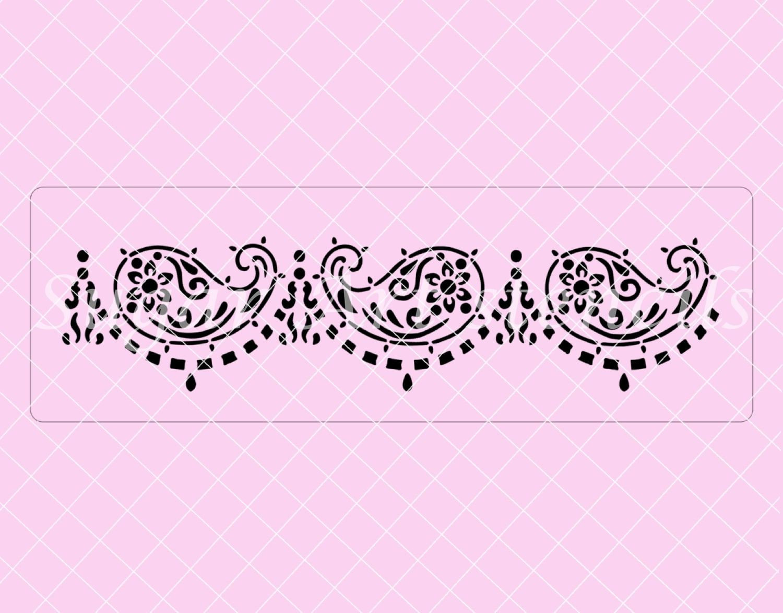 Mehndi Cake Stencil : Mehndi paisley oriental cake stencil sl from