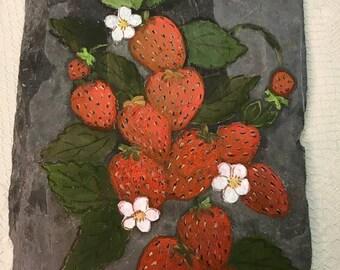 Strawberries Painted Slate