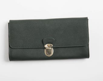 Dark Green leather wallet,clutch with slots, minimalist  women's wallet, gift for her, purse, wide wallet, christmas gift