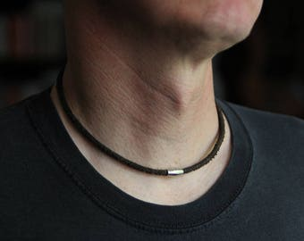 Mens Cowhide Leather Cord Necklace, Stainless Steel, Mens Leather Necklace, Masculine Necklace, Magnetic Clasp Necklace, Mens Jewelry