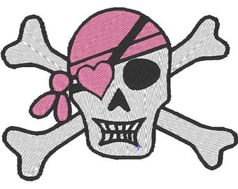 Pink Bandana Skull and Crossbones Machine Embroidery Design 4x4 and 5x7 Instant Download Lindas Hemstitching