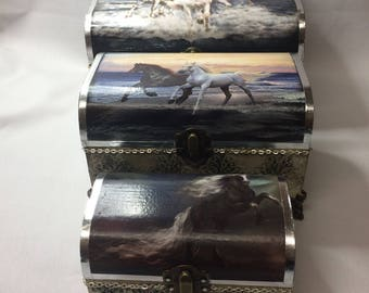 Set of 3 Horses boxes - hand decorated wooden