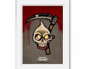 Death By Cupcakes Grime Print, Cute Cakes, Cartoon Illustration Food, Cupcake Skull