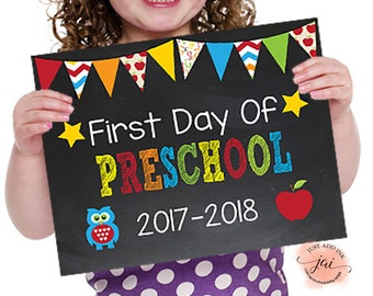 First Day of Preschool, Printable First Day, School Sign, Back to School Sign, First Day of School Chalkboard Sign, Preschool Sign, 8x10