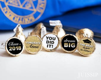 Printed personalized hershey kiss sticker Hershey kiss label Graduation favor Congrats grad Ready to use Gold Glitter Customized Class of