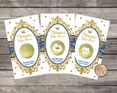 Royal Prince Baby Shower Scratch Off Game Cards ( 10 card ct.)  Blue Gold Glitter, Crown Customized for you