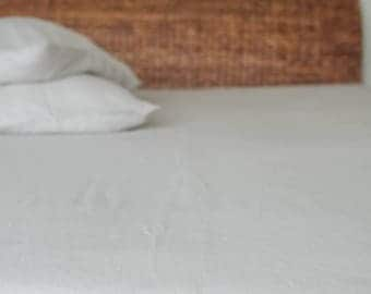 Softened Linen Fitted Sheet/ Natural Linen/ Natural/ Light Gray/Linen Sheet