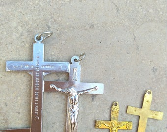lot 10pcs Antique French gold cross sacred heart crucifix jusus engraved medal religious medals  reliquary France brass flower silver cross
