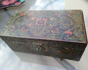 Large Antique wooden wood jewelry box solid bronze locket hand painted wooden box tool box secret box large wood box