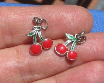 Retro Cherry Red Enameled Metal Charms Set Of Two