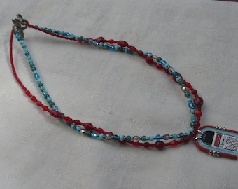 Retro Juke Box Enameled Pendant Red & Blue Beaded Wire Necklace With Dragonfly Clasp