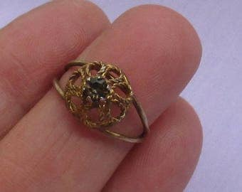 Vintage Dome Shaped Darkened  Rhinestone Ring