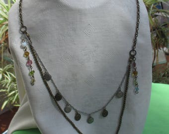 Retro Two Strand  Dangling Beaded Chain Necklace Marked Aero 1987