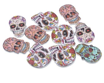 "50 Day Of The Dead Sewing Buttons - Scrapbooking 2 Holes Sugar Skull At Random 24.5 x 17.5 MM 1"" x 3/4"""