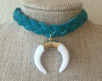 Turquoise Braided Leather Horn Choker