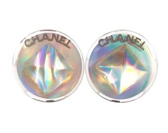Chanel Silver Iridescent Diamond Clip on Earrings