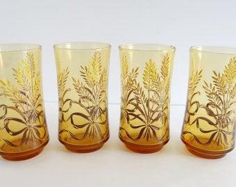 Glasses Amber Libbey Harvest Wheat Ribbon 10 oz Set of 4