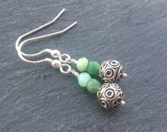 Sterling silver earrings, green gemstone earrings, Bali silver, chrysoprase, dangle earrings, drop earrings, gift for her, may birthstone