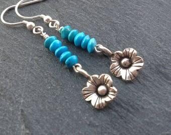 Turquoise earrings/Karen Hill Tribe silver/gemstone earrings/Sterling silver/December birthstone/drop earrings/dangle earrings/gift for her