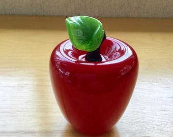Gorgeous Donald Carlson Mouth Blown Glass Cherry Red Apple